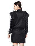 Bomber with Frills and sequin sleeves