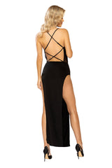 Sheer Mesh Corset Look Maxi Length Dress with Criss-Cross Back Detail