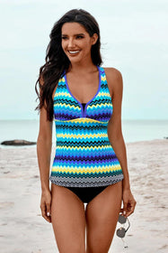Women Blue Wave Stripe Racerback Tankini Swimsuit
