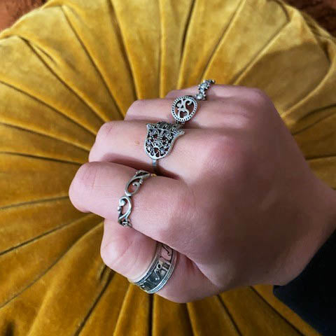 Mood Boho Silver Rings Set - 9 pcs/set