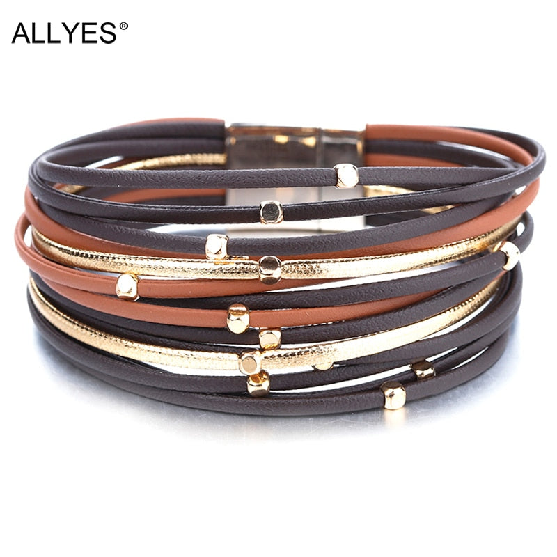 Mood Boho Metal and Leather Bracelets