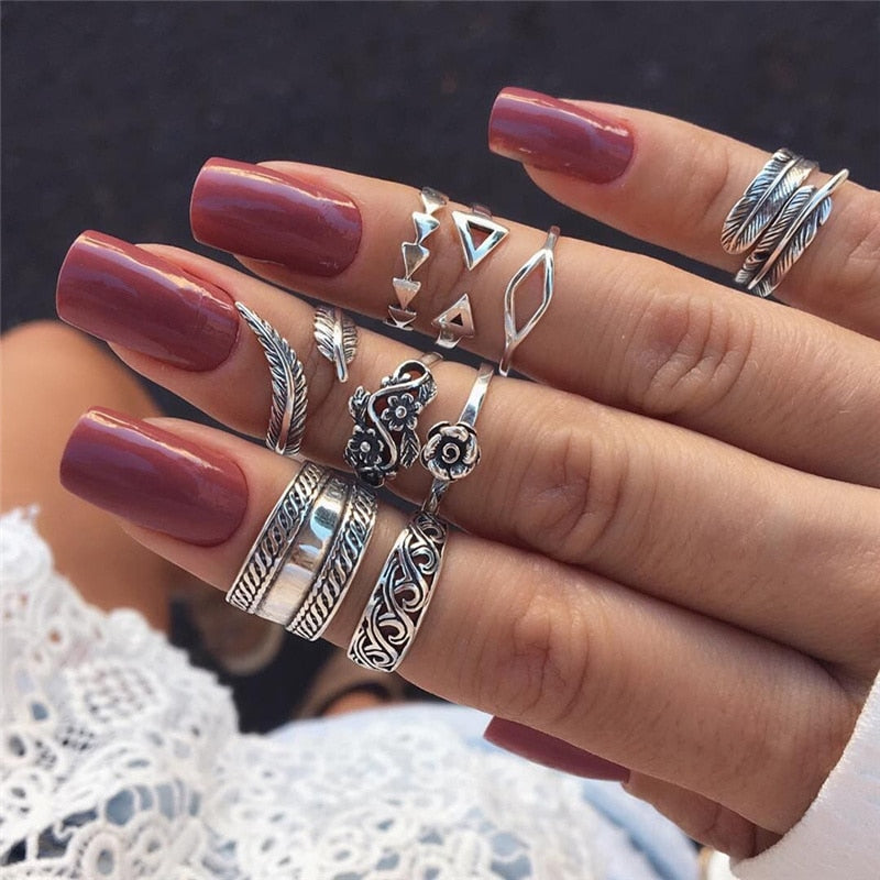 Mood Boho Simple Rings Set