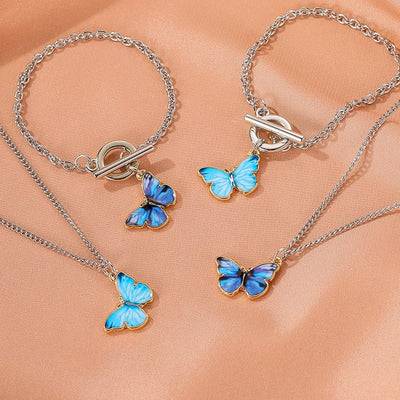 Mood Boho Butterfly Pendant Bracelet & Necklace