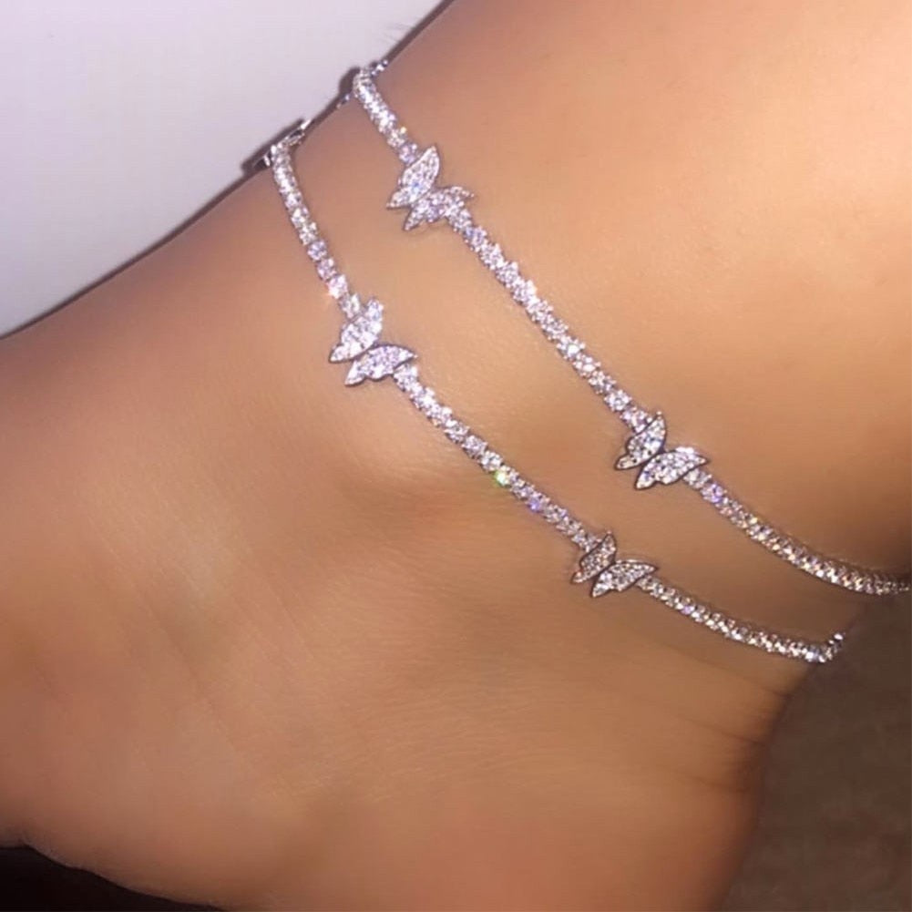 Mood Boho Butterfly Tennis Anklet With Rhinestones