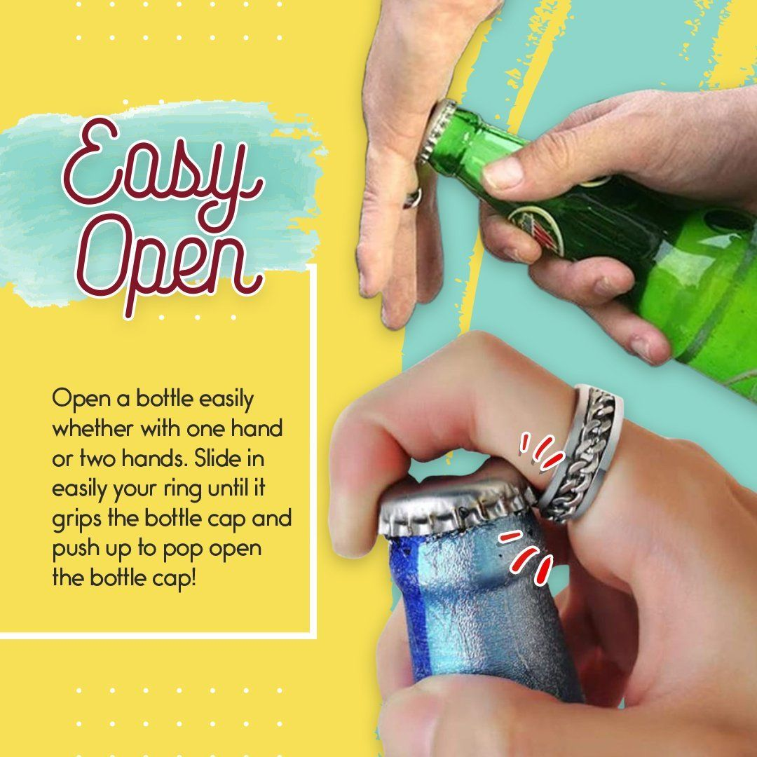 Titanium Steel Rotatable Bottle-Opening Chain Ring