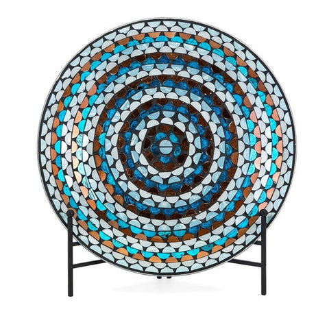 Cordelia Glass Mosaic Decorative Charger with Stand