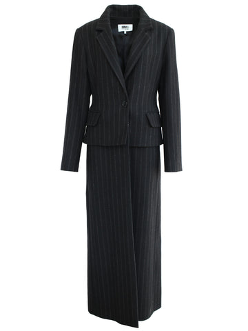 Pinstripe Felt Coat (black)