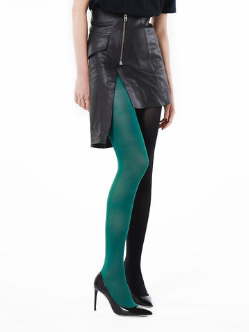 Slim Fit Ribbed Tights (green/black)