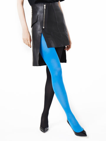 Slim Fit Ribbed Tights (blue/black)