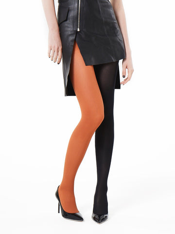 Slim Fit Ribbed Tights (camel/black)