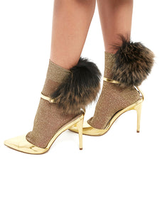 Raccon Fur Socks (gold/beige)