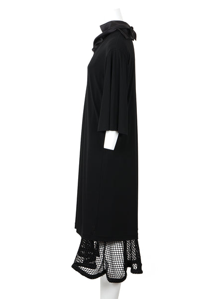 Rayon Jersey Mesh Dress (black)