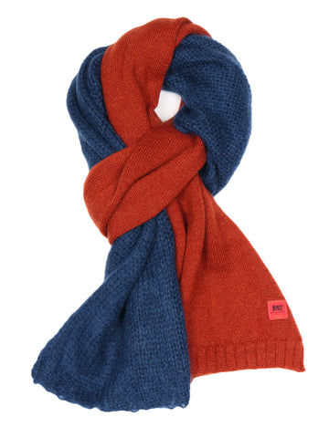 Bi-Color Knit Stole (orange/blue)