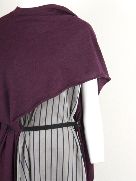 Wool Layered Knit Dress (bordeaux)