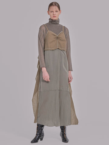 Wool Boil/ Cupra Combination Dress (leaf)