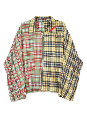 Zip Run Jacket Patch (green×yellow plaid)