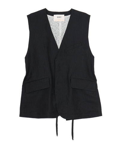 Linen Twill Sleeveless Jacket (navy stripe)