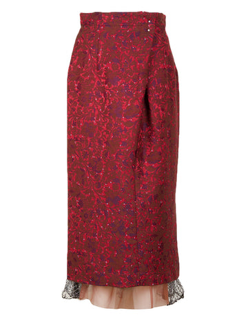 Plant Jacquard Skirt (bordeaux)