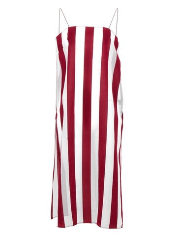 Striped Organza Cami Dress (burgundy)