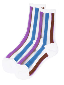Color Lined See-Through Socks (white)