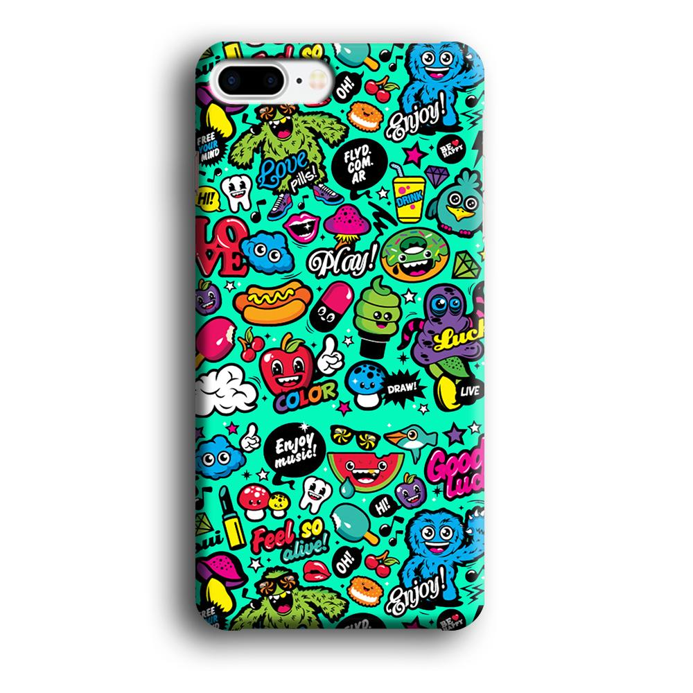 Doodle Glowing The Day iPhone 8 Plus 3D coque custodia fundas - Coque Iphone 11√coque samsung S8+√coque huawei P30 roccoscope.fr