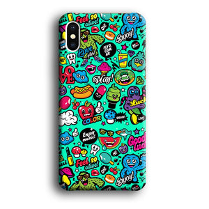 Doodle Glowing The Day iPhone X 3D coque custodia fundas - Coque Iphone 11√coque samsung S8+√coque huawei P30 roccoscope.fr