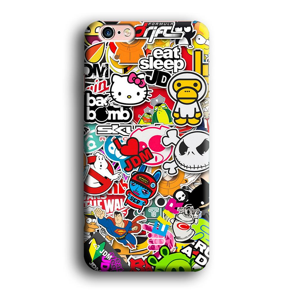 Doodle Sticker Collection iPhone 6 | 6s 3D coque custodia fundas - Coque Iphone 11√coque samsung S8+√coque huawei P30 roccoscope.fr