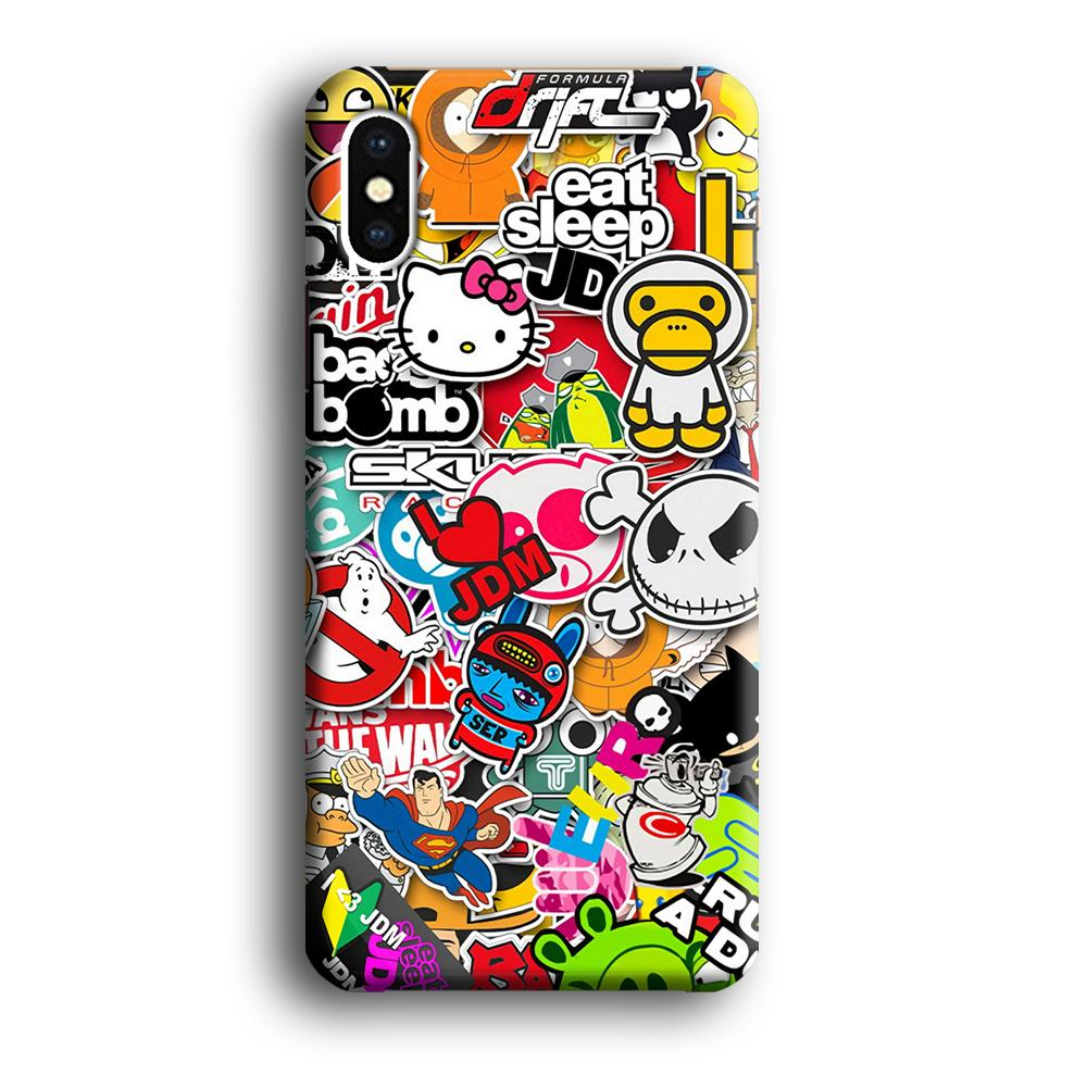 Doodle Sticker Collection iPhone Xs 3D coque custodia fundas - Coque Iphone 11√coque samsung S8+√coque huawei P30 roccoscope.fr