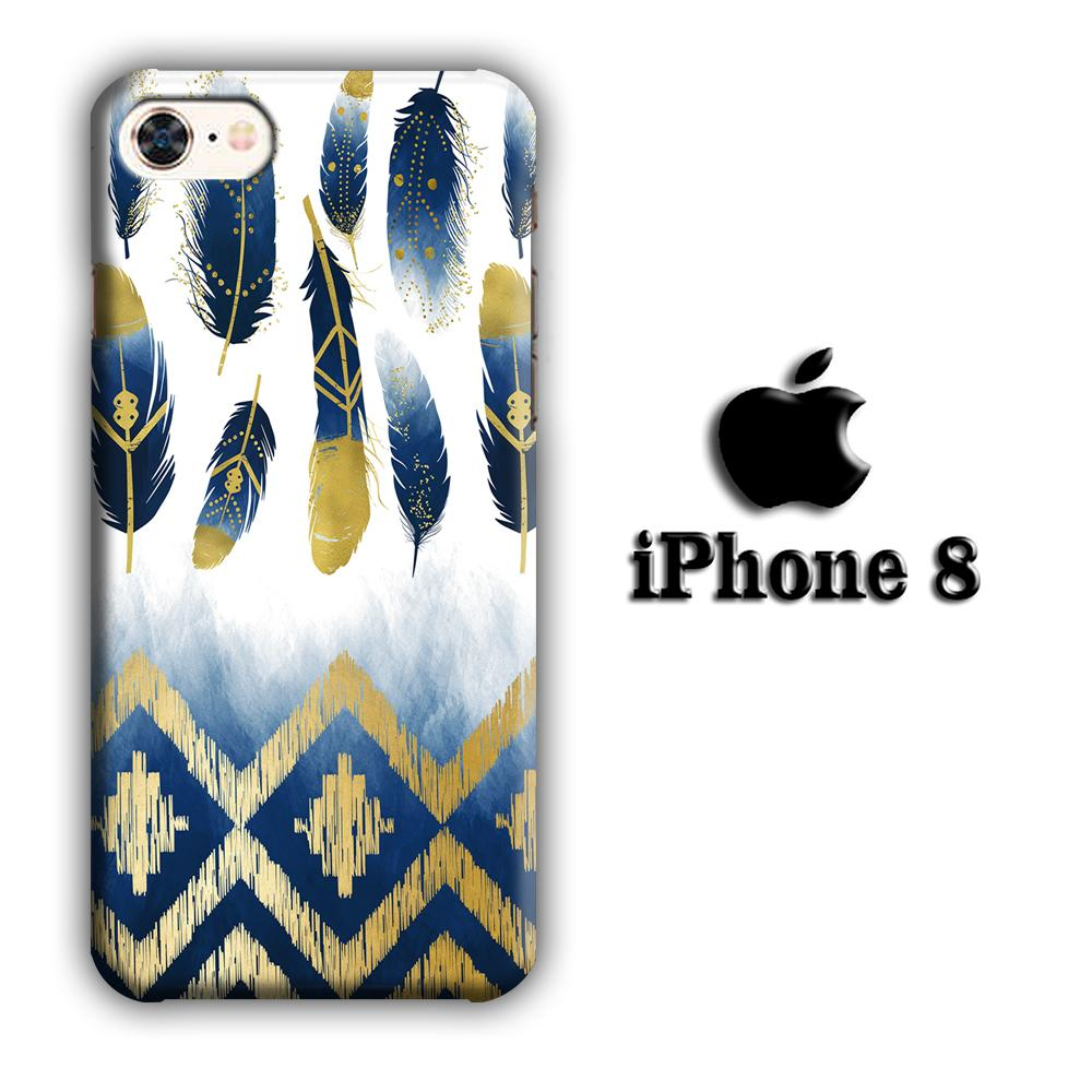 Feather Gold Art iPhone 8 3D coque custodia fundas