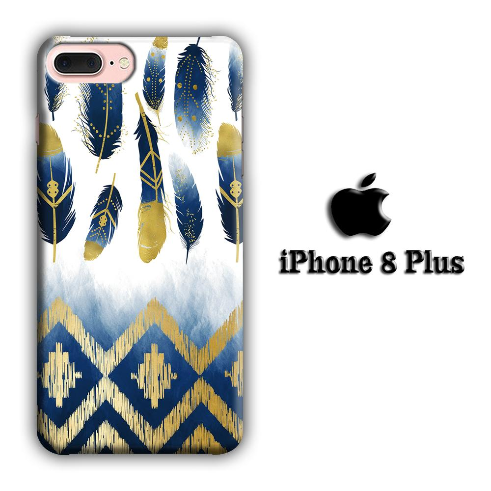 Feather Gold Art iPhone 8 Plus 3D coque custodia fundas