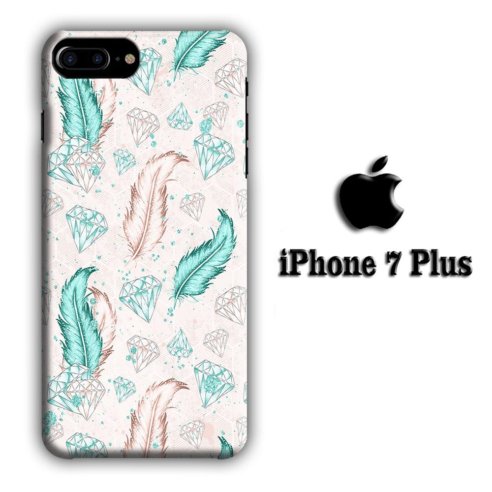 Feather and Diamonds iPhone 7 Plus 3D coque custodia fundas