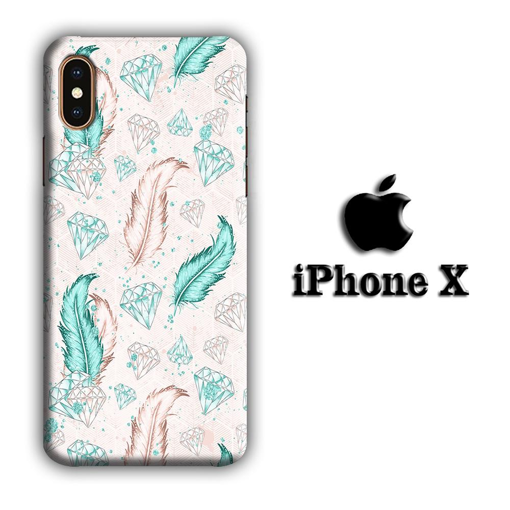 Feather and Diamonds iPhone X 3D coque custodia fundas