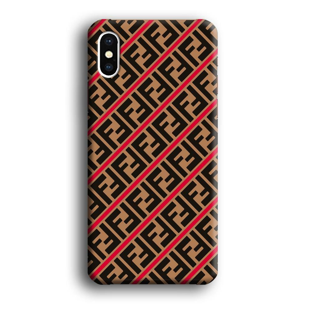 Fendi Logo in Line iPhone X 3D coque custodia fundas