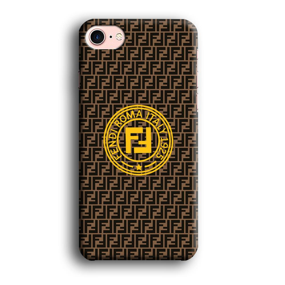 Fendi Yellow Emblem Ring iPhone 8 3D coque custodia fundas