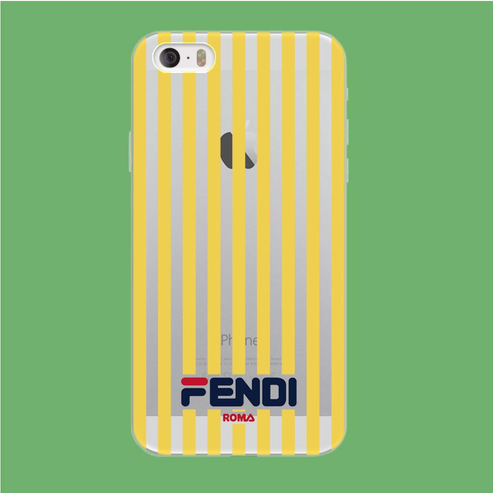Fendi Yellow Line coque iPhone 5 | 5s Clear