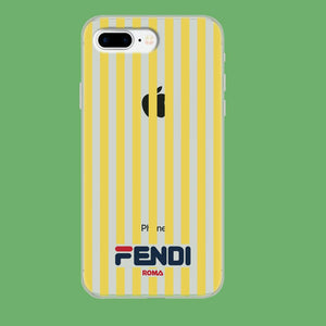 Fendi Yellow Line iPhone 8 Plus Clear coque custodia fundas
