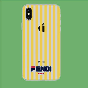 Fendi Yellow Line iPhone Xs Max Clear coque custodia fundas