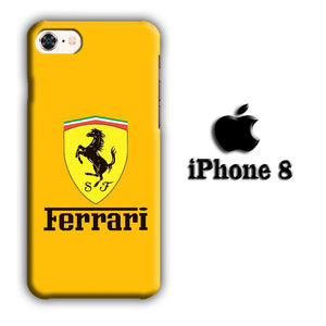 Ferrari Yellow Backdrop iPhone 8 3D coque custodia fundas