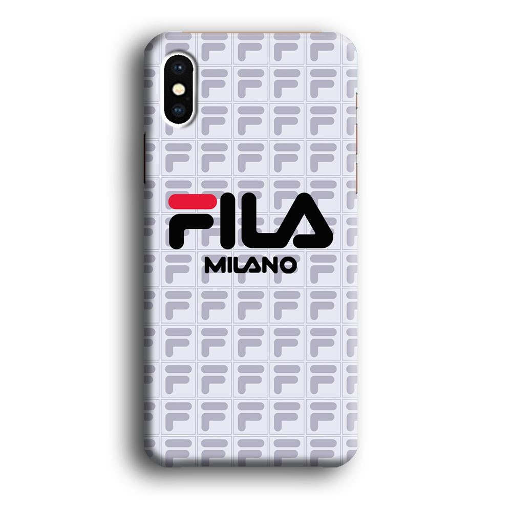 Fila Milano Logo Pattern iPhone Xs Max 3D coque custodia fundas