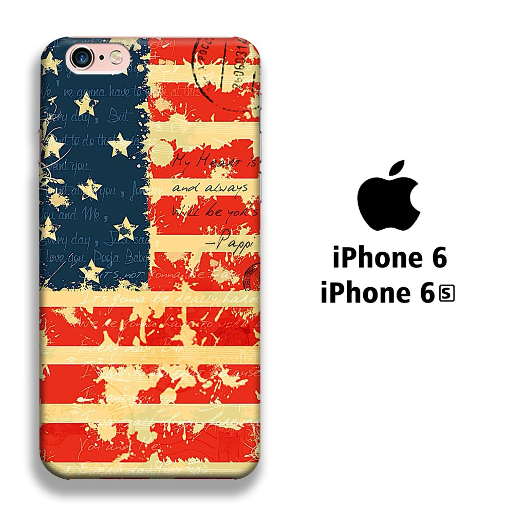 Flag America Paper Old iPhone 6 | 6s 3D coque custodia fundas