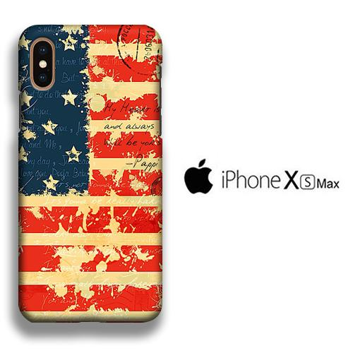 Flag America Paper Old iPhone Xs Max 3D coque custodia fundas
