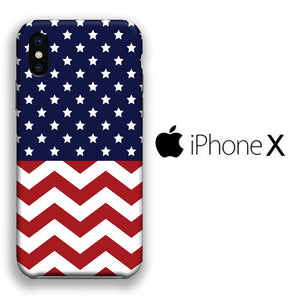 Flag America Patern 002 iPhone X 3D coque custodia fundas