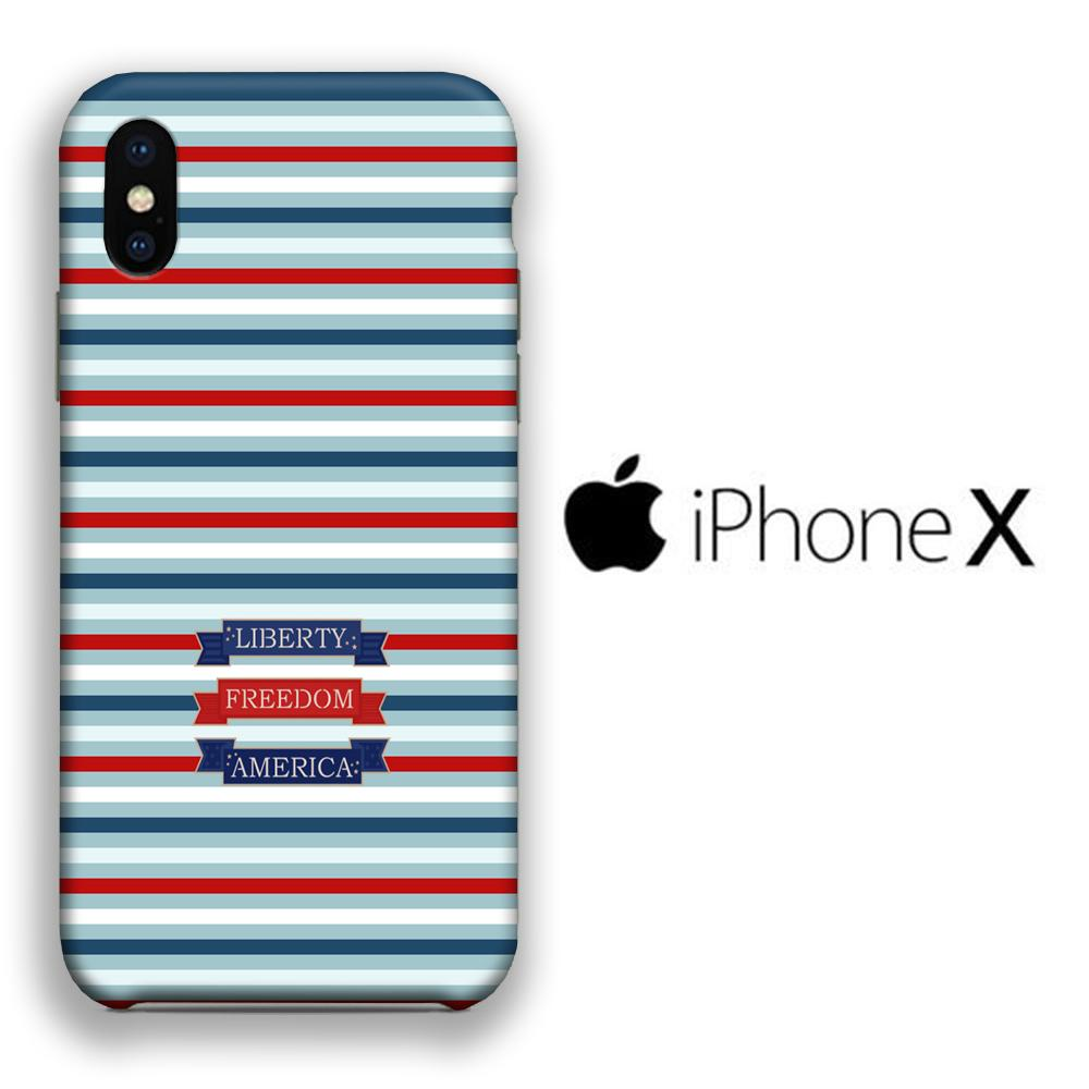 Flag America Patern Liberty iPhone X 3D coque custodia fundas