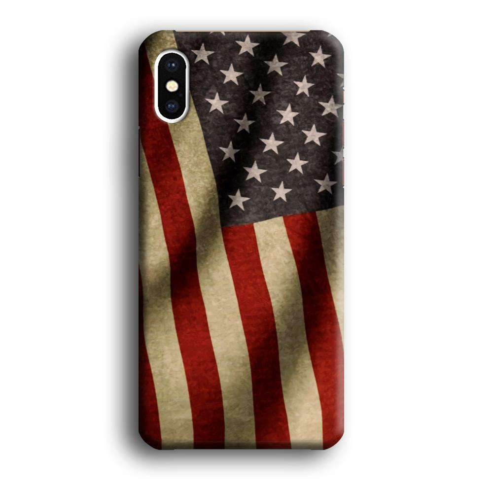 Flag of USA Old Theme iPhone Xs 3D coque custodia fundas