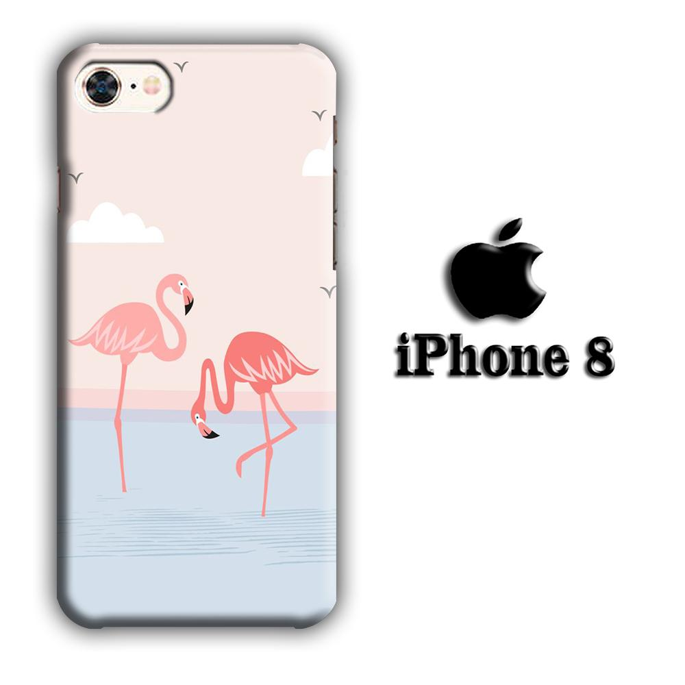 Flamingo Couple iPhone 8 3D coque custodia fundas