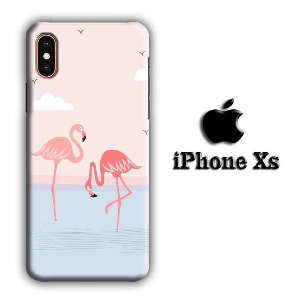 Flamingo Couple iPhone Xs 3D coque custodia fundas