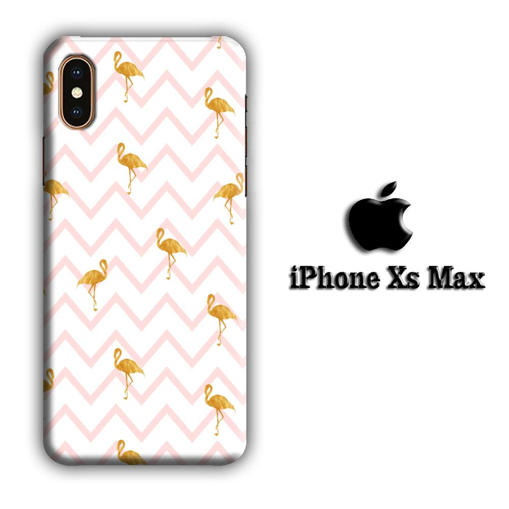 Flamingo Gold and Strip iPhone Xs Max 3D coque custodia fundas