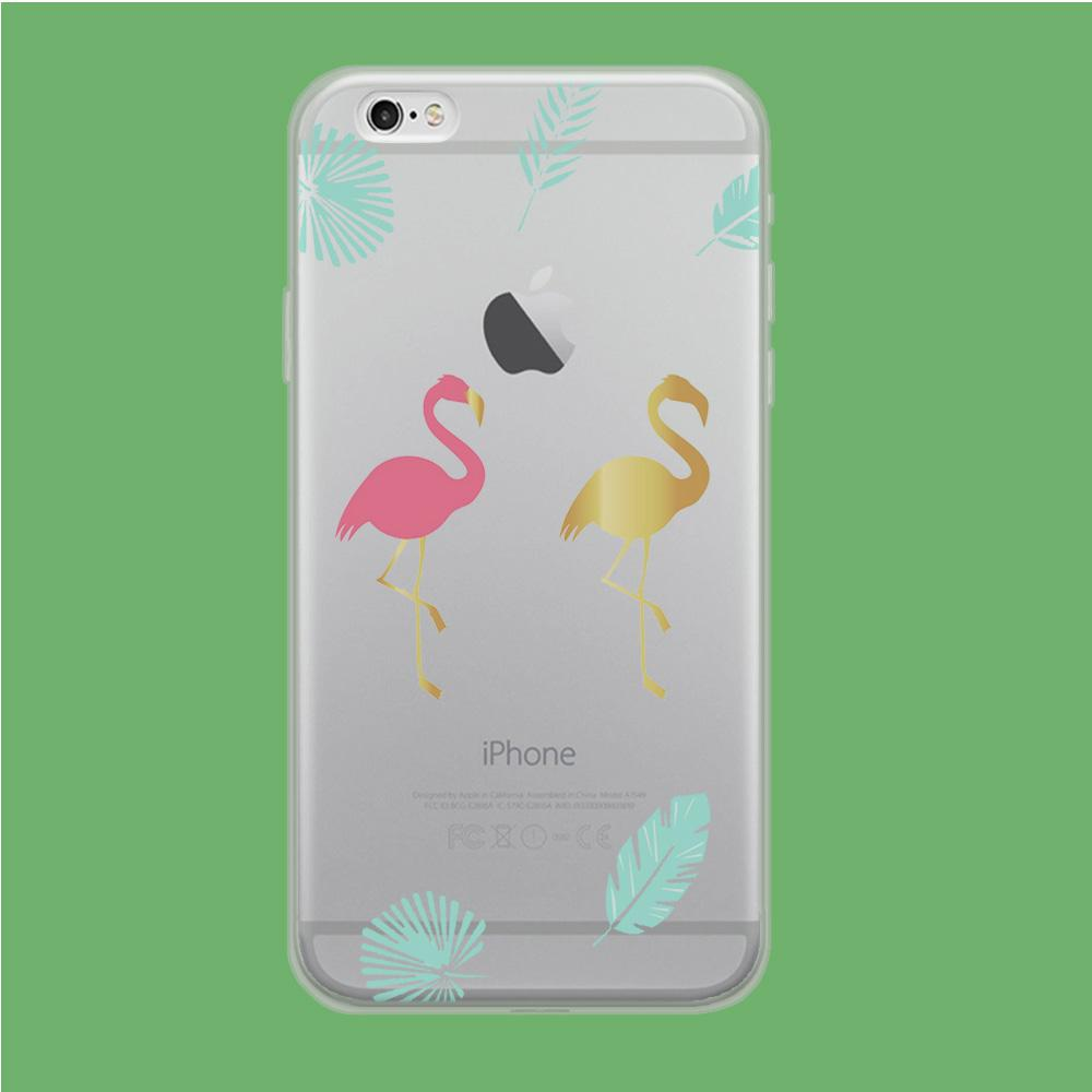 Flamingo Pink and Gold coque iPhone 6 | iPhone 6s Clear