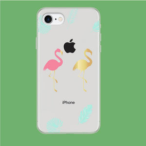 Flamingo Pink and Gold coque iPhone 7 Clear