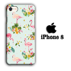 Flamingo Stand at The Garden iPhone 8 3D coque custodia fundas